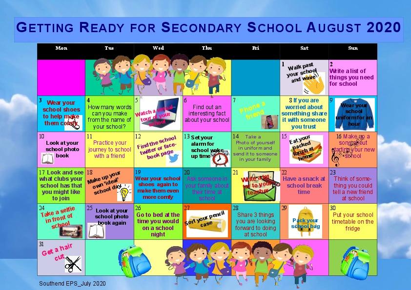 Calendar Starting Secondary School