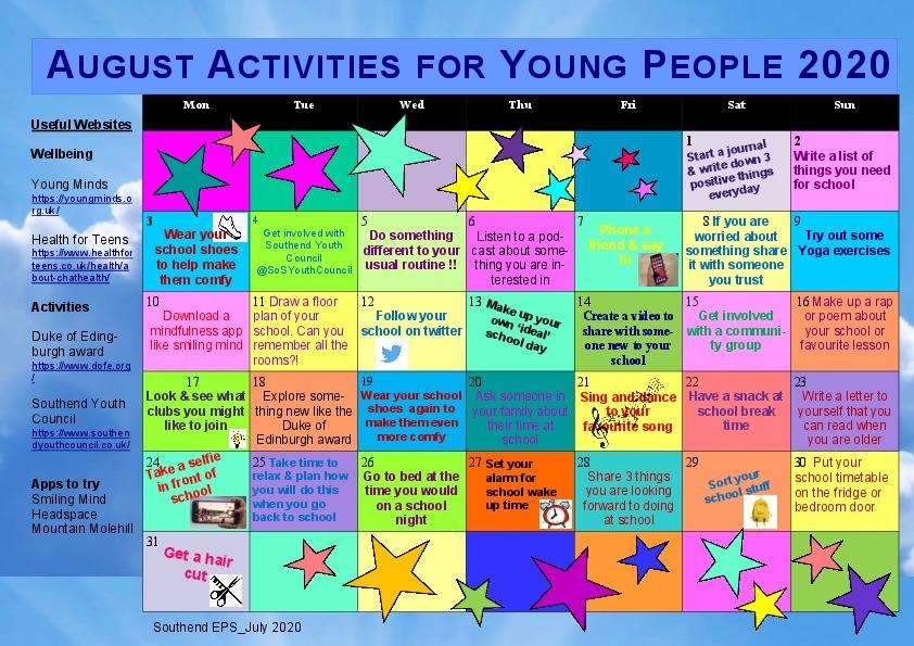 Calendar  Secondary School Aug Activities