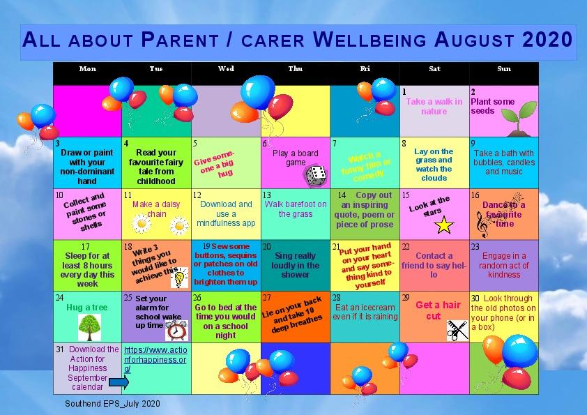Calendar parent carer August Activities