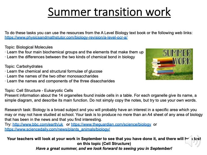 Biology Summer Work