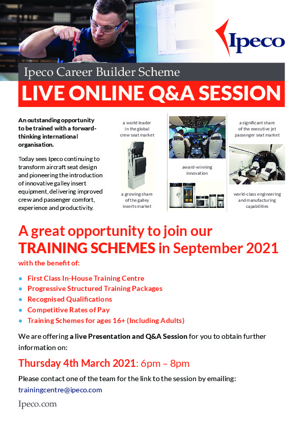 Ipeco Career Builder A4 Poster Live Q&A 2021