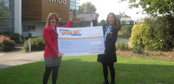 Erin Stoner is Presented with the Prize cheque for the School