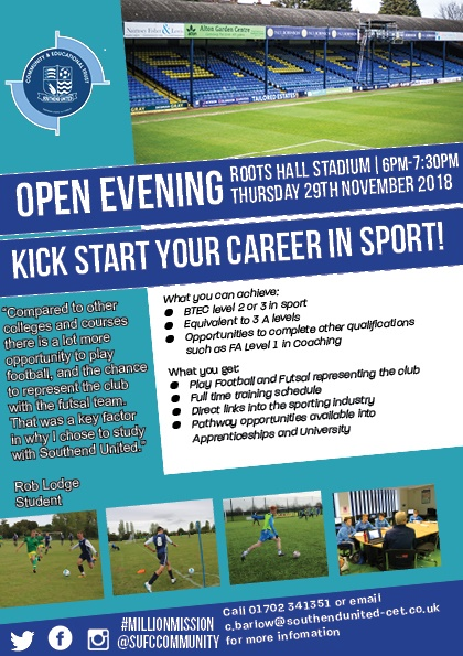 Southend United November open evening 2018 flyer