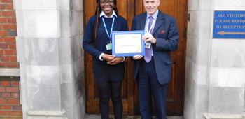 Jack Petchey Foundation October 2018 Winner- Naomi Malamba