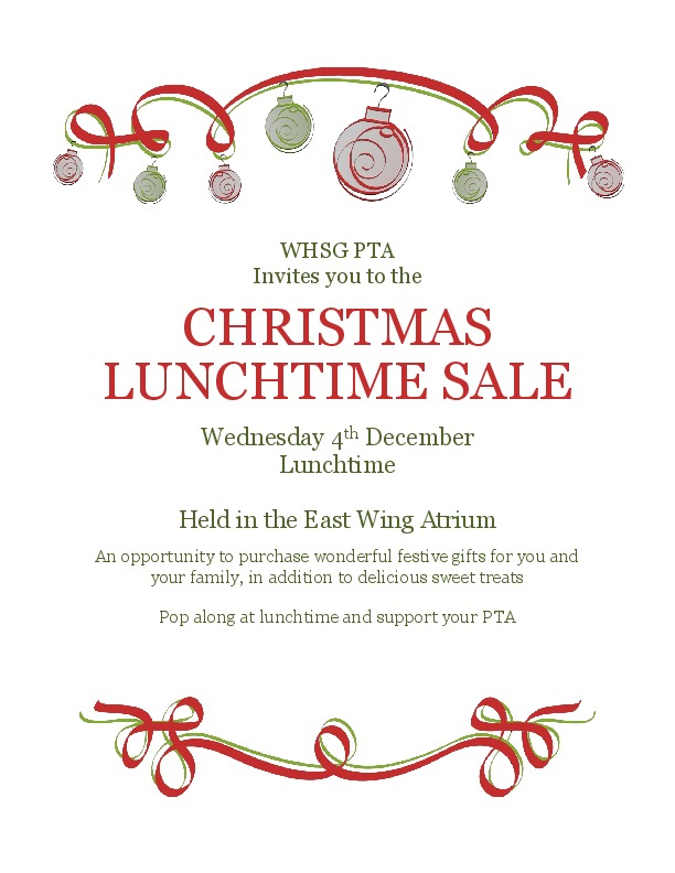 WHSG PTA Xmas Lunchtime Fayre